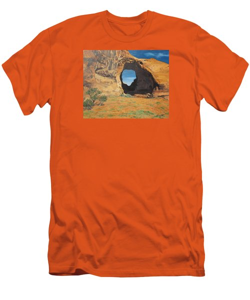 Portal At Window Rock  Men's T-Shirt (Slim Fit) by Barbara Barber