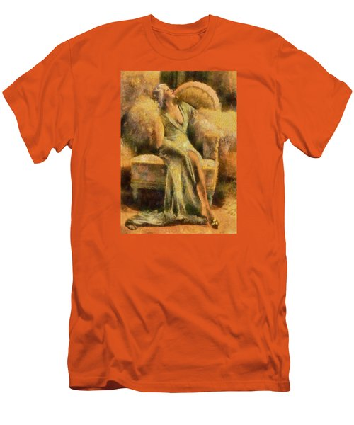 Men's T-Shirt (Slim Fit) featuring the digital art Portrait Of Jean Harlow by Charmaine Zoe