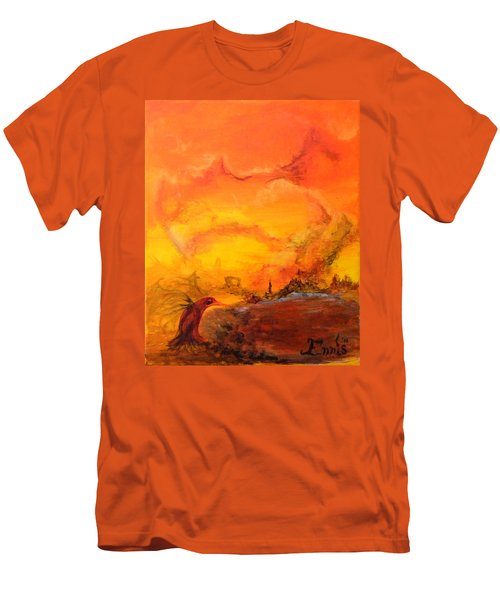 Post Nuclear Watering Hole Men's T-Shirt (Slim Fit) by Christophe Ennis