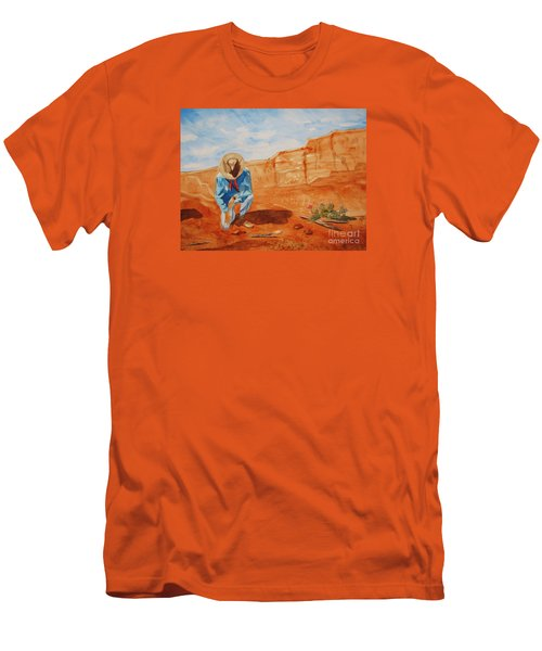 Men's T-Shirt (Slim Fit) featuring the painting Prayer For Earth Mother by Ellen Levinson