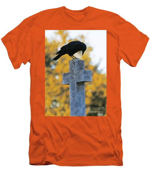 Praying Crow On Cross Men's T-Shirt (Athletic Fit)