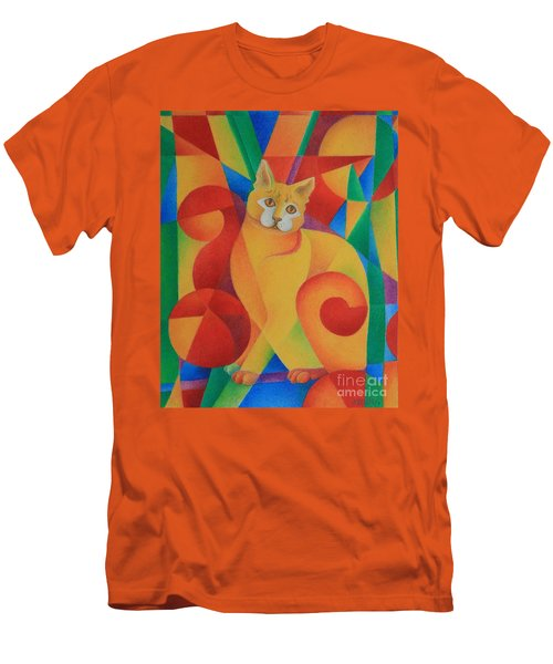Men's T-Shirt (Slim Fit) featuring the painting Primary Cat II by Pamela Clements