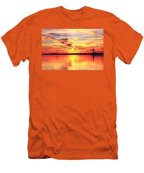 Men's T-Shirt (Slim Fit) featuring the photograph Provincetown Harbor Sunset by Roupen  Baker