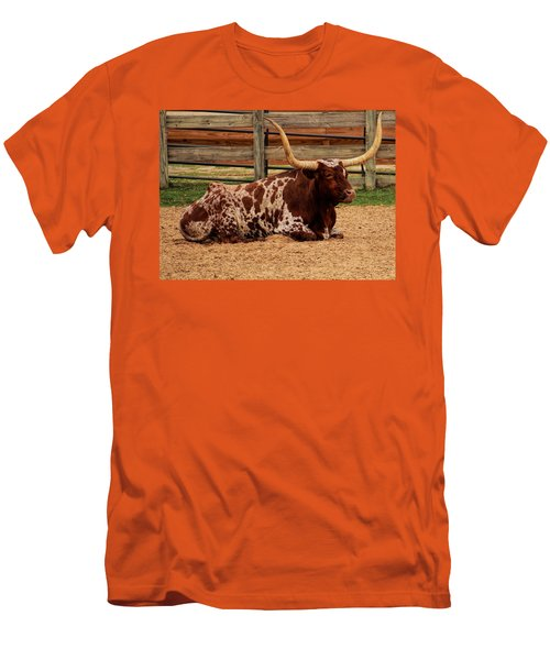 Red And White Texas Longhorn Men's T-Shirt (Athletic Fit)