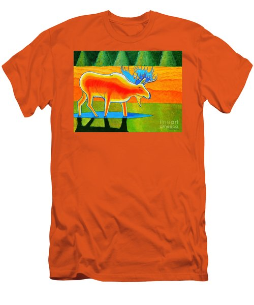 Men's T-Shirt (Slim Fit) featuring the painting Red Moose by Joseph J Stevens