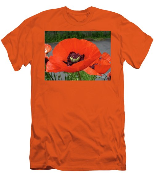 Red Poppy Men's T-Shirt (Slim Fit) by Barbara Griffin