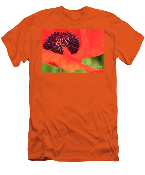 Red Poppy Men's T-Shirt (Slim Fit) by Linda Bianic