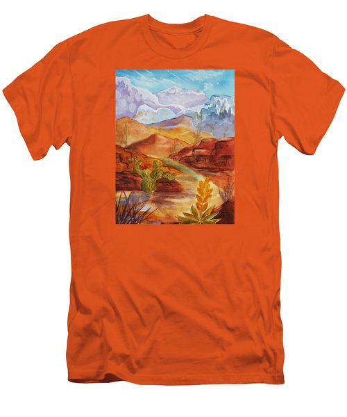 Men's T-Shirt (Slim Fit) featuring the painting Road To Nowhere by Ellen Levinson