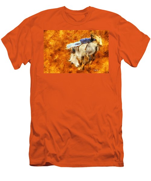 Men's T-Shirt (Slim Fit) featuring the painting Eight-second Ride by Greg Collins