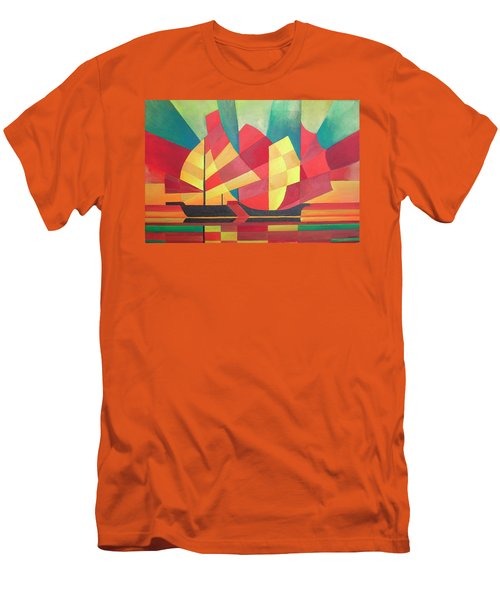 Men's T-Shirt (Slim Fit) featuring the painting Sails And Ocean Skies by Tracey Harrington-Simpson