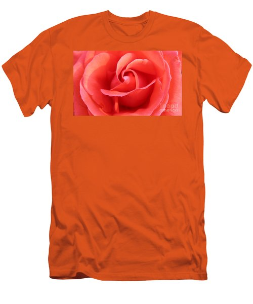 Men's T-Shirt (Slim Fit) featuring the photograph Salmon Floral Rose Abstract by Judy Palkimas
