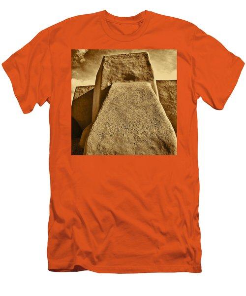 Men's T-Shirt (Slim Fit) featuring the photograph San Francisco De Asis Mission Church Taos by John Hansen