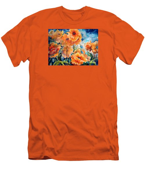 September Orange Poppies            Men's T-Shirt (Slim Fit) by Kathy Braud