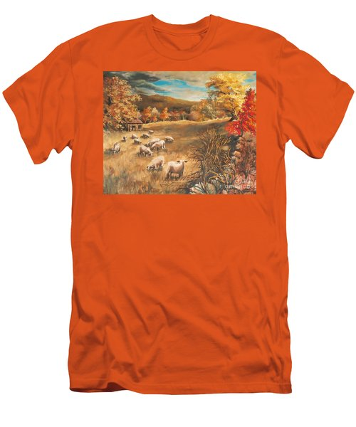 Men's T-Shirt (Slim Fit) featuring the painting Sheep In October's Field by Joy Nichols