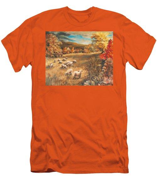 Sheep In October's Field Men's T-Shirt (Slim Fit) by Joy Nichols