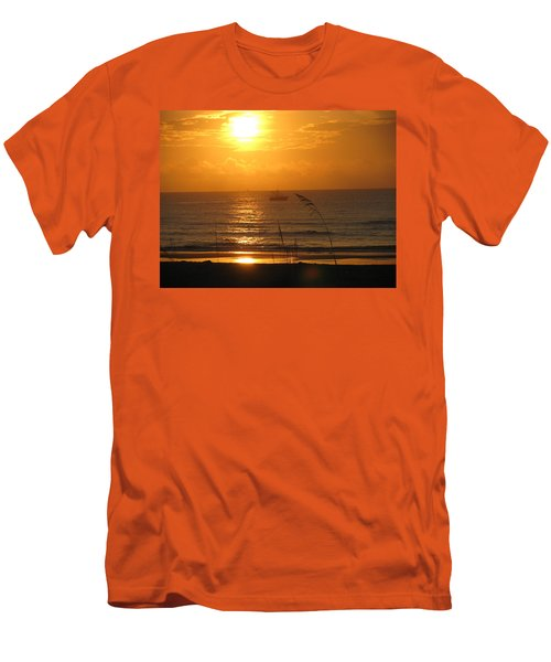 Shrimp Boat Sunrise Men's T-Shirt (Slim Fit) by Ellen Meakin