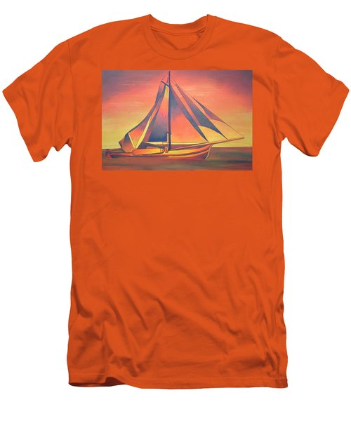 Men's T-Shirt (Slim Fit) featuring the painting Sienna Sails At Sunset by Tracey Harrington-Simpson