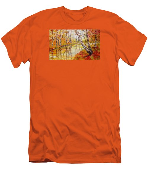 Men's T-Shirt (Slim Fit) featuring the painting Silence by Nina Mitkova