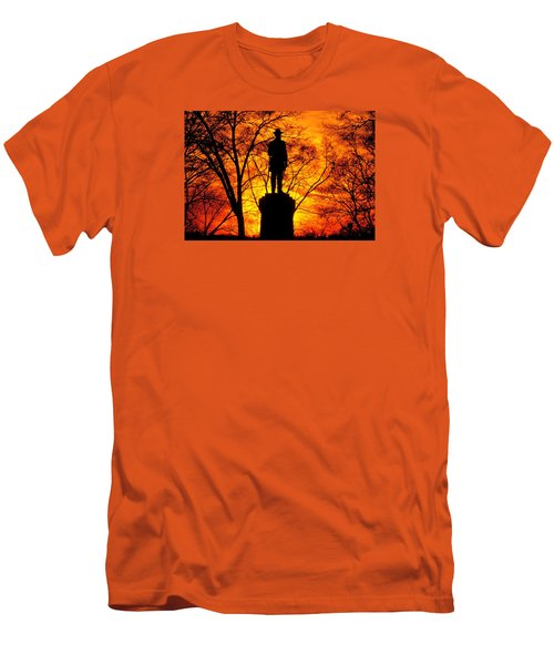 Men's T-Shirt (Slim Fit) featuring the photograph Sky Fire - Flames Of Battle 50th Pennsylvania Volunteer Infantry-a1 Sunset Antietam by Michael Mazaika