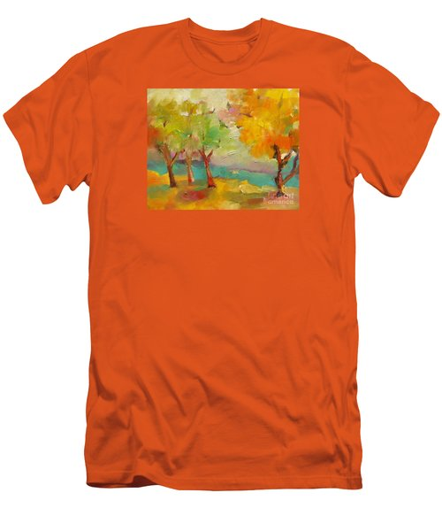 Men's T-Shirt (Slim Fit) featuring the painting Soft Trees by Michelle Abrams