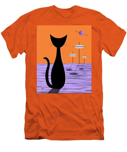 Space Cat Orange Sky Men's T-Shirt (Athletic Fit)