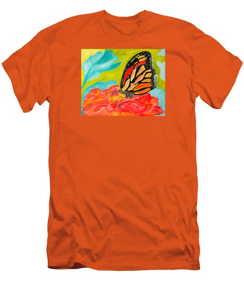 Men's T-Shirt (Slim Fit) featuring the painting Stained Glass Flutters by Meryl Goudey