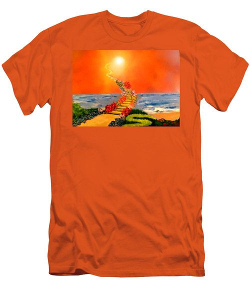 Men's T-Shirt (Slim Fit) featuring the painting Stairway To Heaven by Michael Rucker