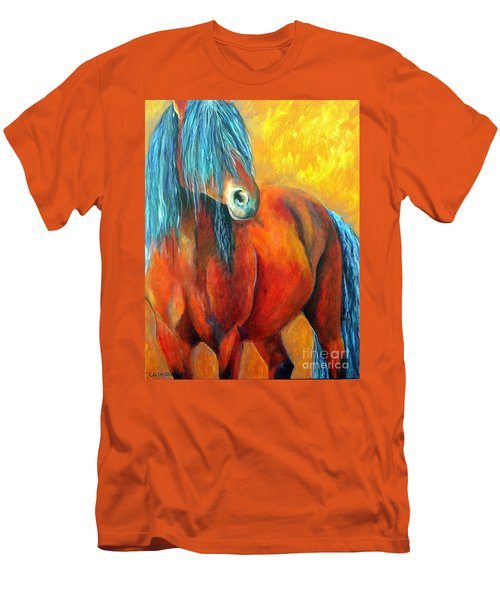 Men's T-Shirt (Slim Fit) featuring the painting Stallions Concerto  by Alison Caltrider