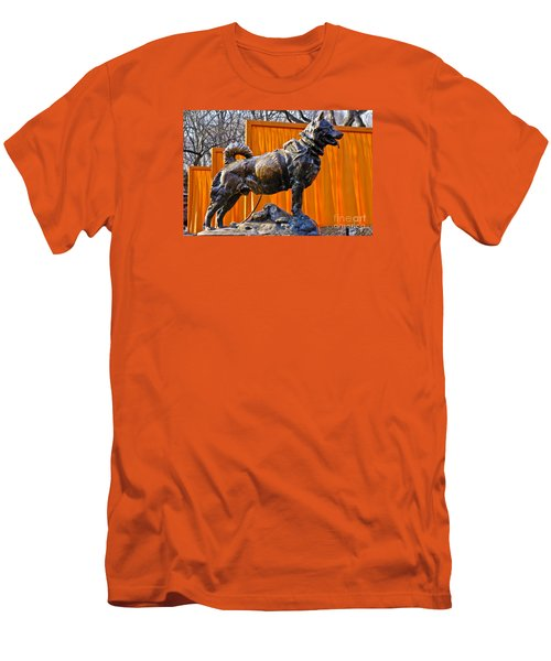Statue Of Balto In Nyc Central Park Men's T-Shirt (Slim Fit) by Anthony Sacco