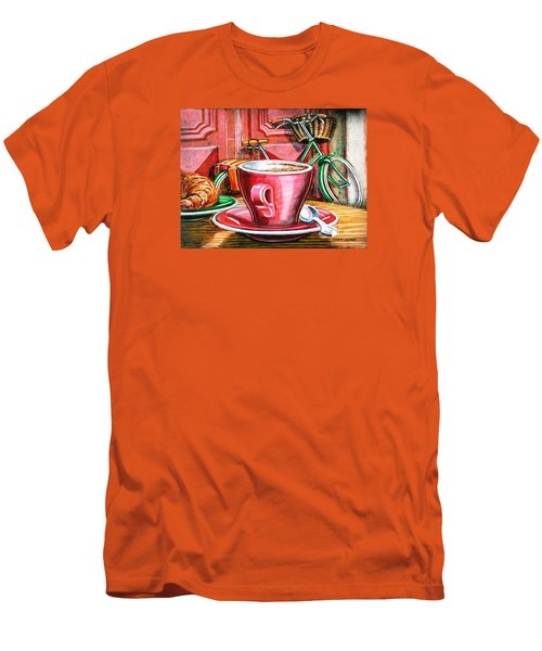 Men's T-Shirt (Slim Fit) featuring the painting Still Life With Green Dutch Bike by Mark Howard Jones