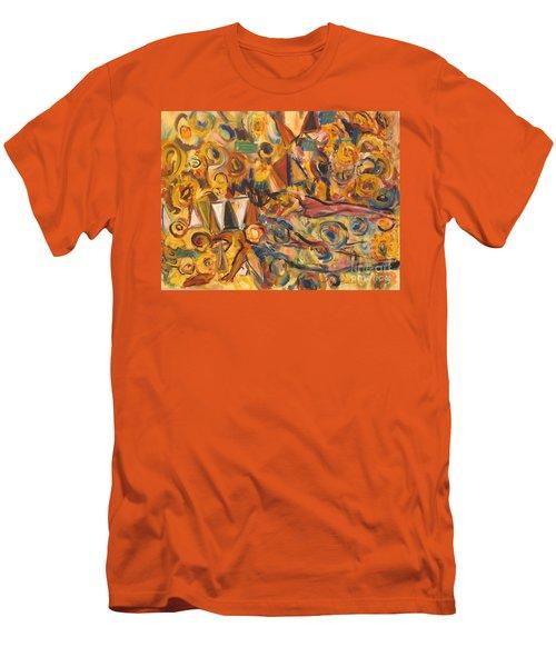 Sun- Bathing Among Yellow  Roses Men's T-Shirt (Athletic Fit)