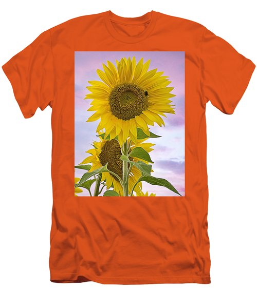 Sunflower With Colorful Evening Sky Men's T-Shirt (Athletic Fit)