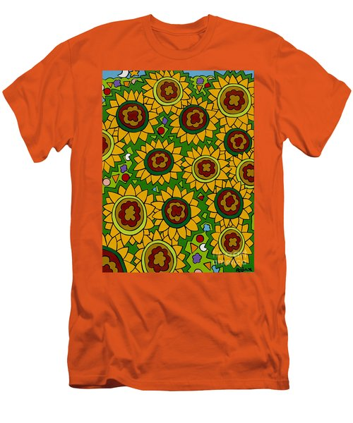 Sunflowers 2 Men's T-Shirt (Slim Fit) by Rojax Art