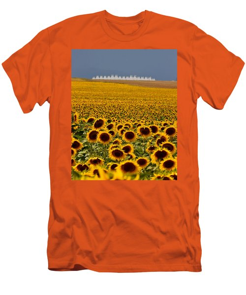 Men's T-Shirt (Slim Fit) featuring the photograph Sunflowers And Airports by Ronda Kimbrow