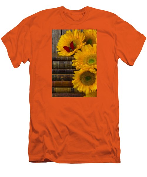 Sunflowers And Old Books Men's T-Shirt (Slim Fit) by Garry Gay