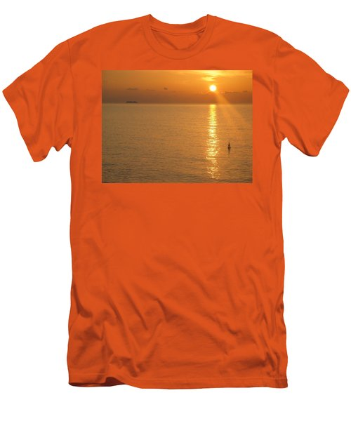 Men's T-Shirt (Slim Fit) featuring the photograph Sunrise At Sea by Photographic Arts And Design Studio