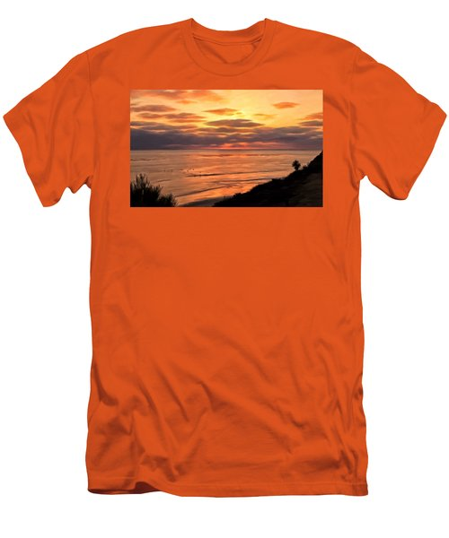Men's T-Shirt (Slim Fit) featuring the painting Sunset At Swami's Encinitas by Michael Pickett