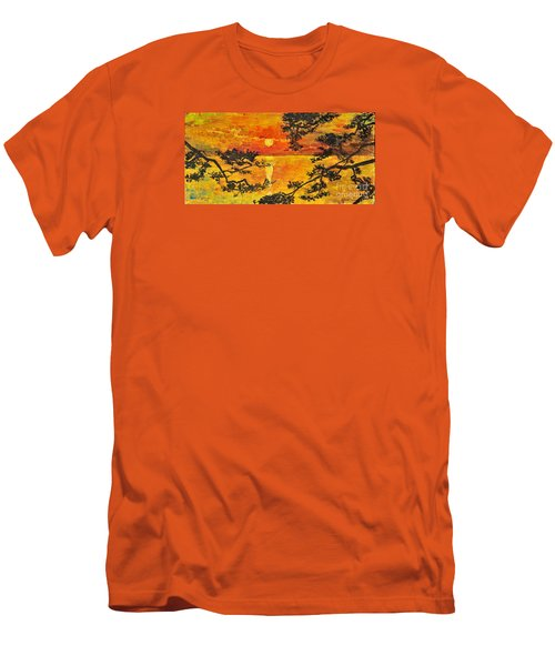 Men's T-Shirt (Slim Fit) featuring the painting Sunset For My Parents by Teresa Wegrzyn