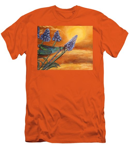 Men's T-Shirt (Slim Fit) featuring the painting Summer Sunset Over A Dragonfly by Kimberlee Baxter