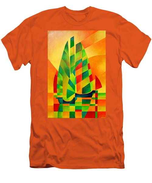 Men's T-Shirt (Slim Fit) featuring the painting Sunset Sails And Shadows by Tracey Harrington-Simpson