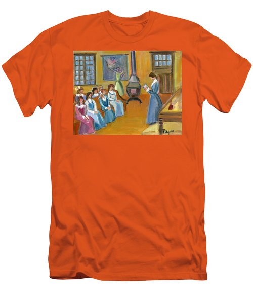 Susan B. Anthony Teaching In Canajoharie Men's T-Shirt (Slim Fit) by Betty Pieper