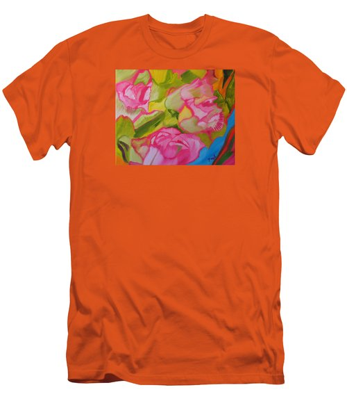 Men's T-Shirt (Slim Fit) featuring the painting Symphony Of Roses by Meryl Goudey