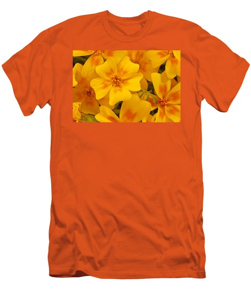 Men's T-Shirt (Slim Fit) featuring the photograph Tagette Marigold Blossoms Macro by Sandra Foster