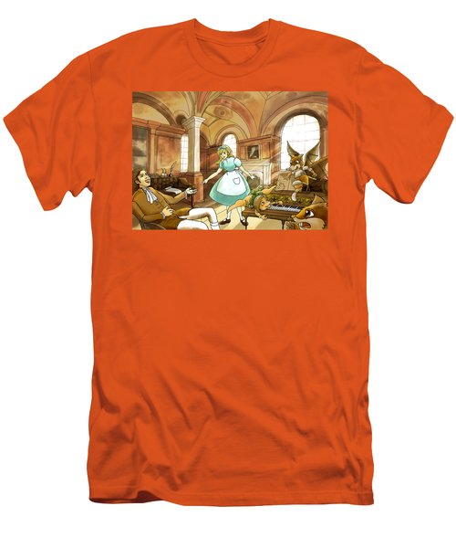 Men's T-Shirt (Slim Fit) featuring the painting Tammy Meets Mr. Scott by Reynold Jay