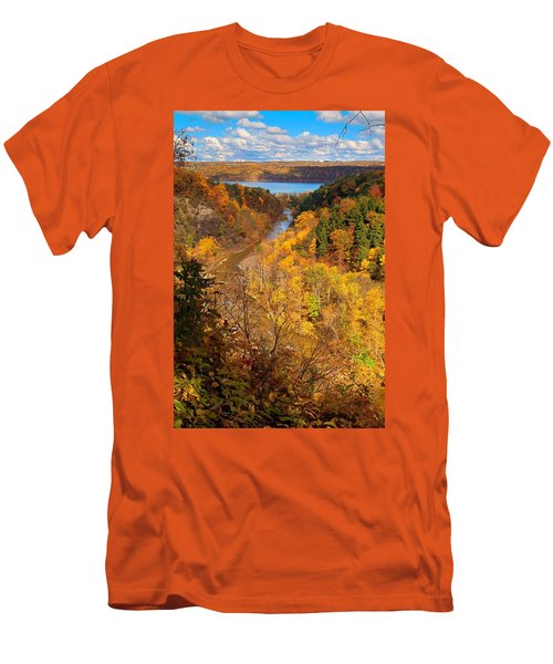 Men's T-Shirt (Slim Fit) featuring the photograph Taughannock River Canyon In Colorful Fall Ithaca New York by Paul Ge