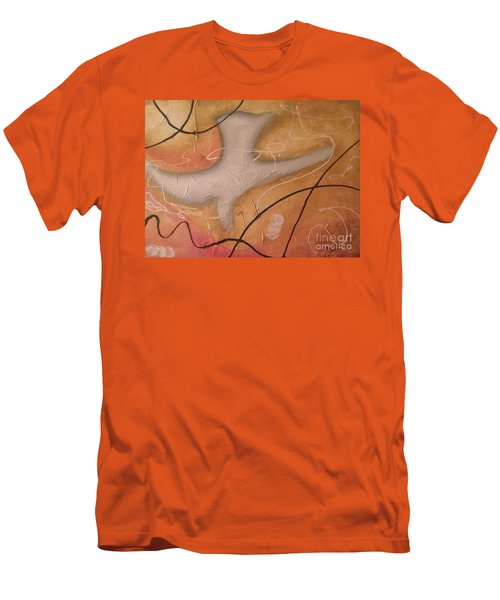 The Dove Religious Abstract Art By Saribelle  Men's T-Shirt (Slim Fit) by Saribelle Rodriguez