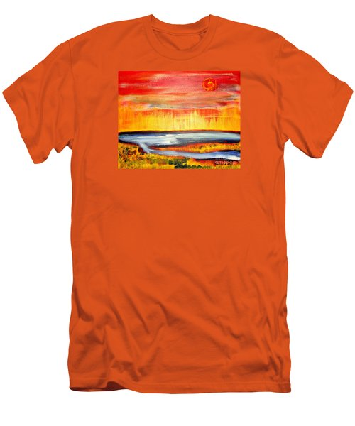 Men's T-Shirt (Slim Fit) featuring the painting The First Handcart Is Faith by Richard W Linford