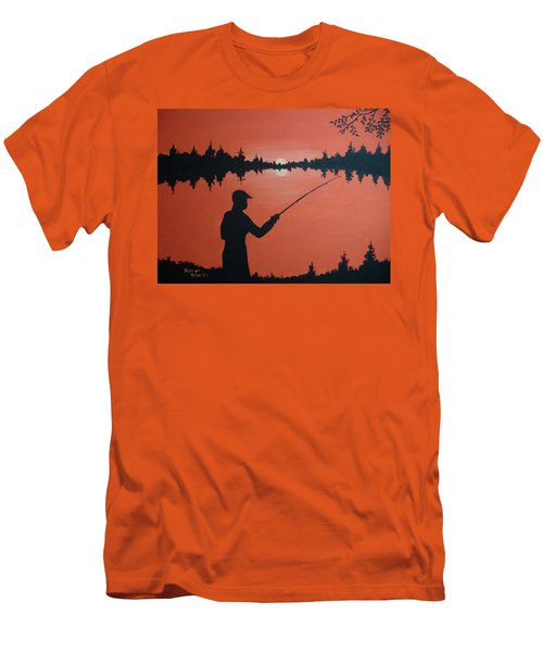 Men's T-Shirt (Slim Fit) featuring the painting The Golden Hour by Norm Starks