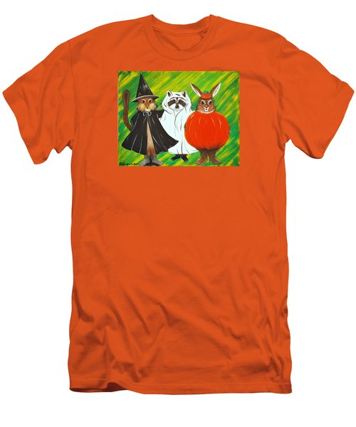 Men's T-Shirt (Slim Fit) featuring the painting The Halloween Gang by Jennifer Lake