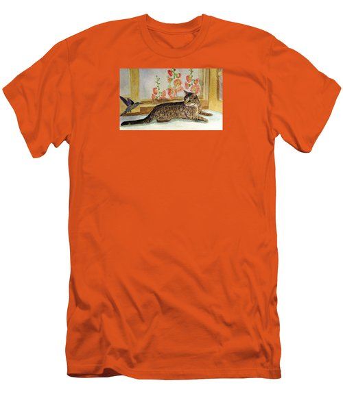Men's T-Shirt (Slim Fit) featuring the painting The Visitor by Angela Davies